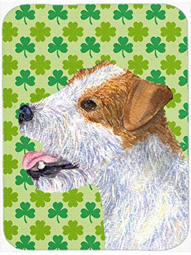 Carolines Treasures Jack Russell Terrier StPatricks Day Shamrock Glass Cutting Board Large Multicolor