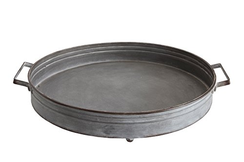 Creative Co-Op DA5840 Casual Country Round Decorative Iron Tray with Handles