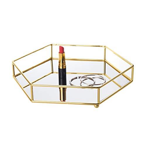 Feyarl Gold Vanity Mirror Tray Ornate Cosmetic Jewelry Trinket Display Perfume Skin Care Tray Organizer Decorative Tray for Dresser Countertop Home Deco