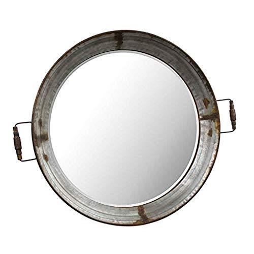 K&K Interiors 13825B 36 Inch Metal Framed Round Mirror Tray WHandles