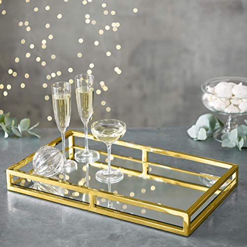 Mirrored Perfume Tray Decorative Gold Vanity Tray for Display Perfume Jewelry Dresser and Bathroom Elegant Mirror Tray Makes A Great Gift -16X10 Inch