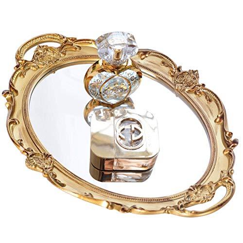 Mukily Mirrored TrayDecorative Mirror for Perfume Organizer Jewelry Dresser Organizer Tray DisplayVanity TrayServing Tray98 x 14Gold