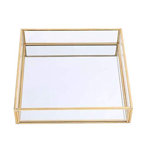 Sooyee Gold Tray MirrorSquare Mirror Tray can Hold JewelryPerfumeMakeupBreakfastTeaFoodMagazine and More Decorative Tray for VanityDresserBathroomBedroomOfficeGardenCoffee Table 8x8