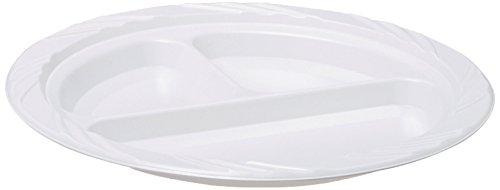 Genuine Joe GJO10425 Plastic ReusableDisposable Divided Plate 9 Diameter White Pack of 125