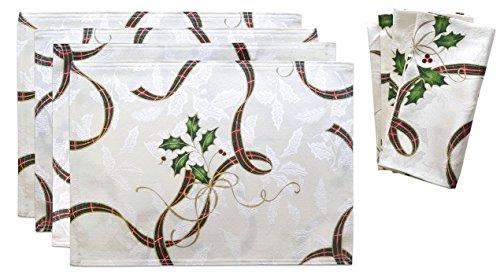lx-n4p4n Lenox 8pc Gift Set Holiday Nouveau Ribbon 4 Placemats 4 Dinner Napkin