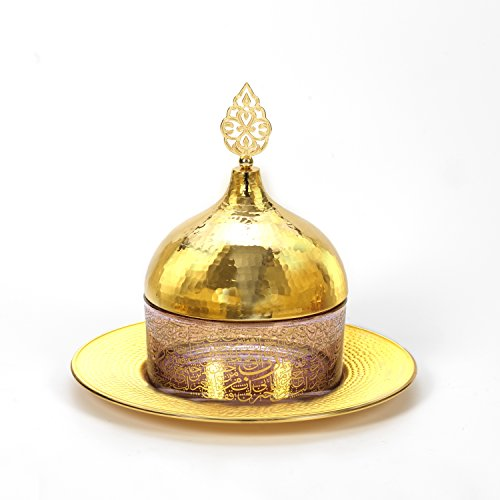 MisterCooper New 2018 Ottoman and Turkish Style Hanmade Glass Desert Cake Cover Display with Brass Base - Gold Middle