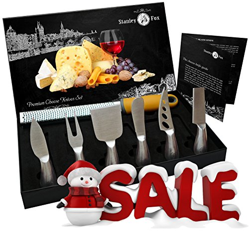 STANLEY FOX Premium 7-Piece Cheese Knife Set – 6 Cheese knives - Bonus Cheese Grater&Zester - Complete Stainless Steel Cheese Knives Collection - Best Cutlery Gift Set