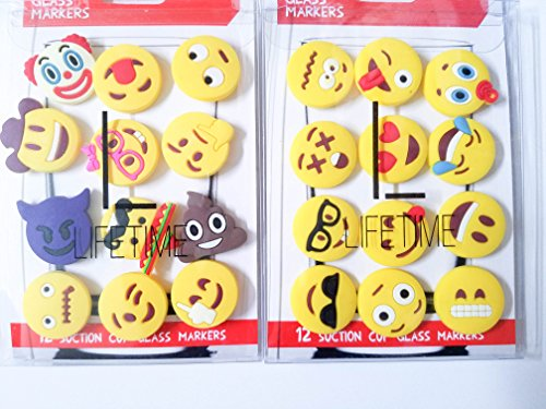Emoji Charms with Suction 12 Pack Perfect Markers for Everything from Wine Glass to Red Cups Lifetime Combo