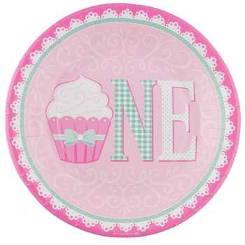 10 Diameter Pink Green First Birthday Cupcake Plates Party Supplies