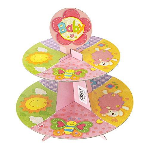 Homeford Precious Baby Cardboard Cupcake Stand Pastel 2-Tier 11-Inch