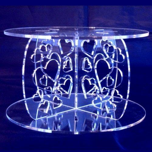Hearts Round Acrylic Pillars Wedding Party Cake Separators  Stands 15cm – 13cm