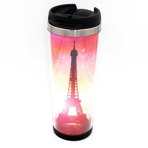 Boyan Diy Mug Creative Cup Romantic Eiffel Tower Travel Water Tea Milk Coffee Cup for Unisex Adults Stainless Steel 20 Cm 14 Oz