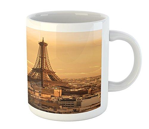 Eiffel Tower Mug by Lunarable Sunset Buildings Tower Rooftop Vacation Honeymoon Journey Monochromic Art Printed Ceramic Coffee Mug Water Tea Drinks Cup Brown Apricot