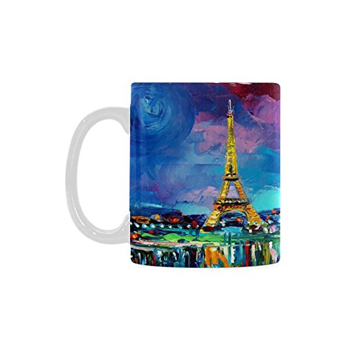 Eiffel Tower Paris France White Ceramic Coffee Mugs Cup - 11oz sizes