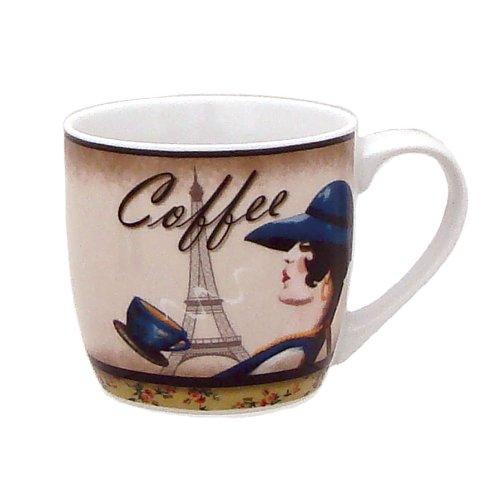 Zrike Brands Lady with Eiffel Tower Mug Set of 4