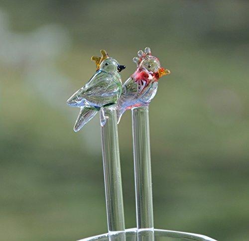 Exotic Birds Handmade Glass Stirrers- Glass Cocktail Stirrers- Swizzle sticks Glass Red Green Birds  Hand blown Glass