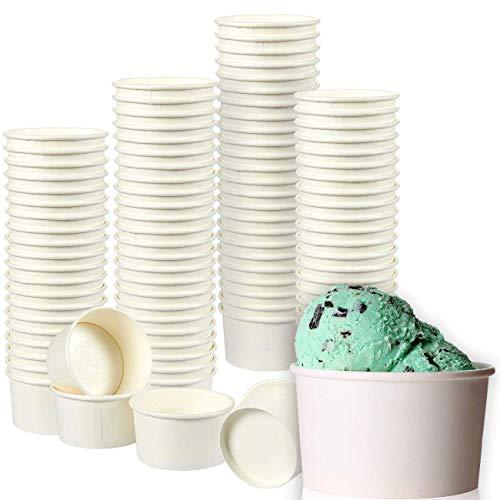 Juvale Ice Cream Sundae Cups - 100-Pack Disposable Paper Frozen Yogurt Dessert Bowls 8-Ounce White