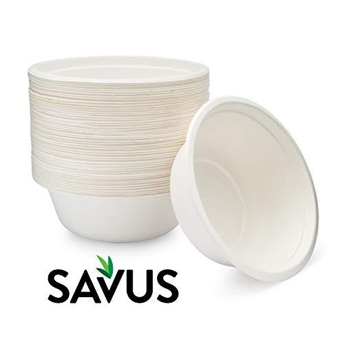 SAVUS 16 Oz Disposable Bowl 50 count - 100 Compostable Biodegradable Heavy Duty Eco-Friendly Sugarcane Fiber Bagasse Strong Tree Free Plastic Free Party Paper Bowls