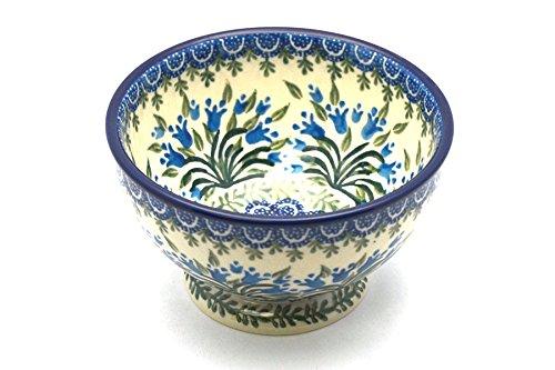 Polish Pottery Bowl - Pedestal - Small - Blue Bells