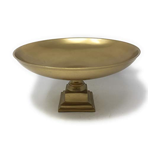 Serene Spaces Living Gold Pedestal Bowl - Add Fruit or Treats for a Table Centerpiece with Rich Gold Color 1075 Tall