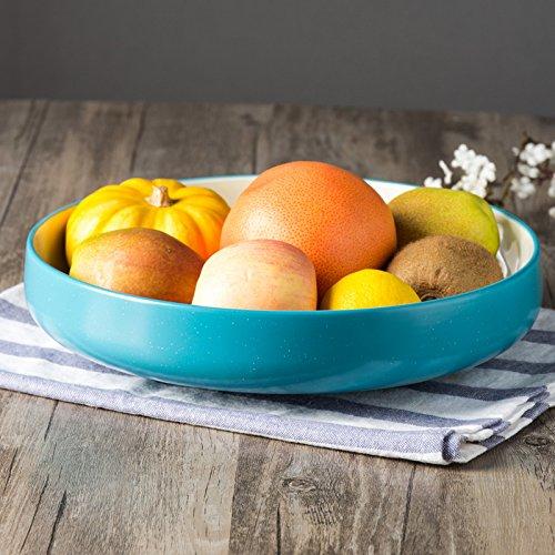 CLG-FLY Large ceramic bowl noodle bowl large bowl bowl Fresh Fruit Salad homeBig blue soup 10 inches