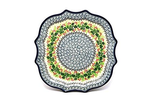 Polish Pottery Tray - Serpentine Edge - Holly Berry
