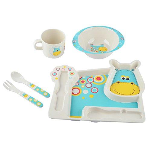 Children Flatware WOLFBUSH Bamboo Fiber Children Meal Tray Set Lovely Cartoon Healthy Tableware - Pattern-2