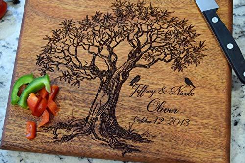 Love Birds Tree Cutting Board - Cutting Boards - Personalized Cutting Board - Family Tree Cutting Board - Cutting Board Gift- Housewarming Gift - Laser Engraved