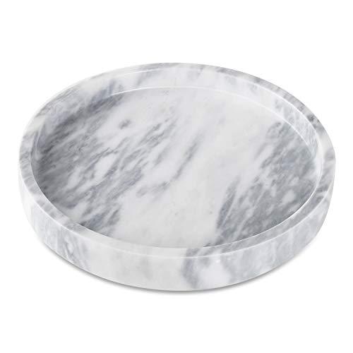 AntTech Stylish Marble Round Vanity Tray Stone Organize Tray Premium Fruit salver-118 DiameterWhite