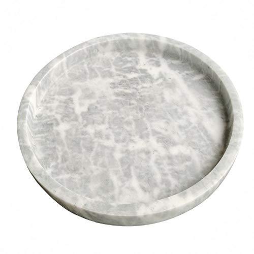 StonePlus Natural Real Marble Vanity Bathroom TrayNeat Organizer for Cups Shampoo Perfume Jewelry Dark Grey 984Dx118H