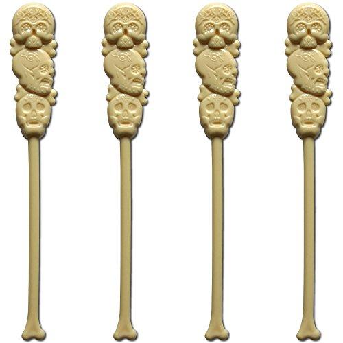 Royer 6 Plastic Skull Swizzle Sticks Set of 24 Made in USA Ivory