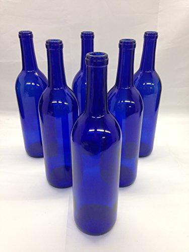 6 - Cobalt Blue Bordeaux Flat Bottom Glass Bottles 750ml for Bottle Trees Crafting PartiesWedding Center Piece  Decor  Home Brew  Beer Wine