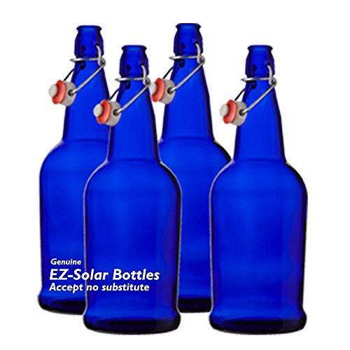 Blue Glass Solar Water Bottles Cobalt Blue Glass Bottles 1 liter 32oz 4 pack