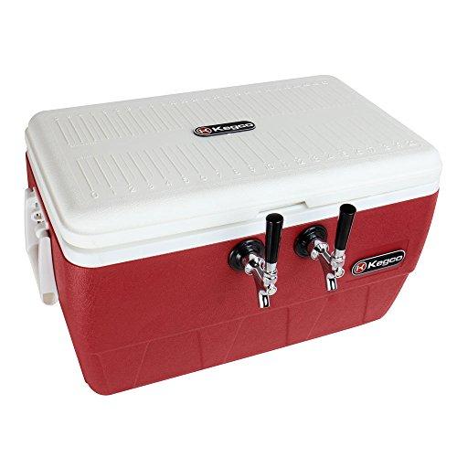 Kegco Red Double Faucet Jockey Box Beer Cooler Dispenser 38 OD 120 SS Coils