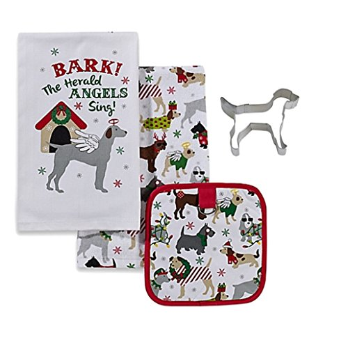 Dogs Bark the Herald Angels Sing Dish Towels Potholder and Cookie Cutter Bundle Set 4 Items