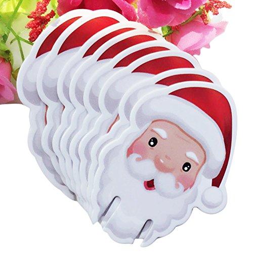 Longshow 10PCS Christmas Table Place Cards Wine Glass Place Card Cup Card for Christmas Decoration Santa Claus