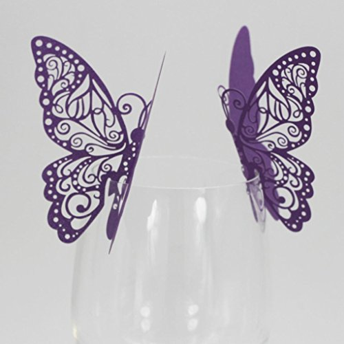 Startview 50 Pcs Butterfly Card Wine Glass Paper Card for Wedding Party Christmas Decorations Holiday Party Decor Purple