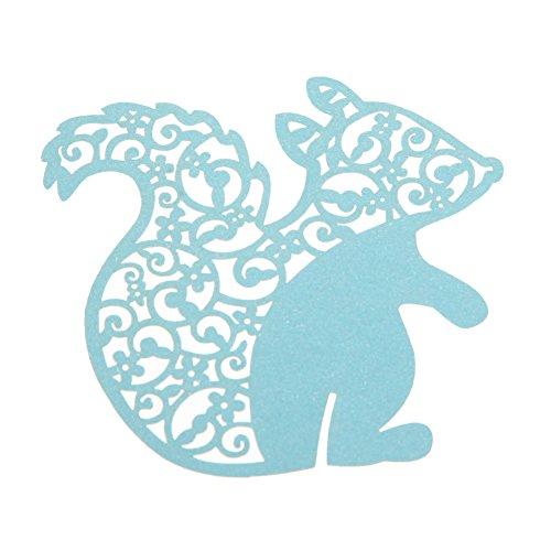 Whitelotous 50 PCs Ceative Squirrel Paper Wine Glass Place Card Wedding Party Decor Blue