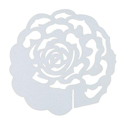 Whitelotous 50 pcs Wedding Table Name Place Cards Wine Glass Party Decoration Favor Rose