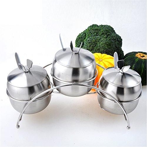 Stainless steel spice boxMulti purpose Spice jar salt shaker setMultifunctional cruet kitchen supplies-B
