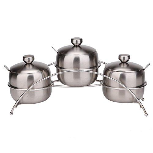 Stainless steel spice boxMultiple-use seasoning salt bottle Kit European creative kitchen supplies-B