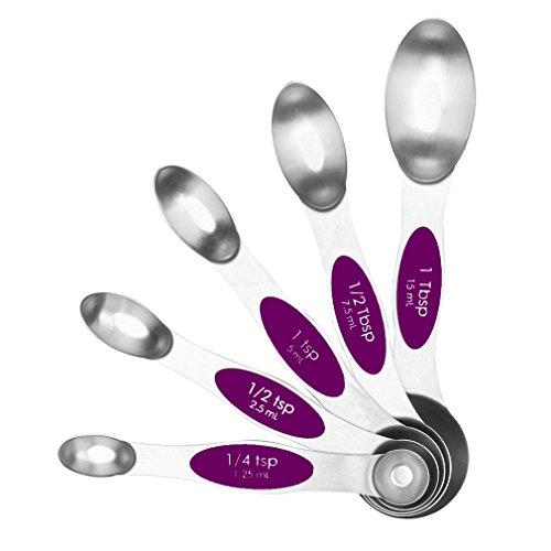 HoooWooo Magnetic Measuring Spoons Measuring Dry and Liquid Ingredients Stainless Steel - Set of 5 Purple
