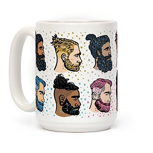 Glitter Beards Braids and Man Buns White 15 Ounce Ceramic Coffee Mug by LookHUMAN