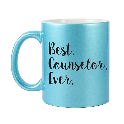 Mama Birdie Best Counselor Ever Coffee CupTea Mug - Script Print Glitter Blue