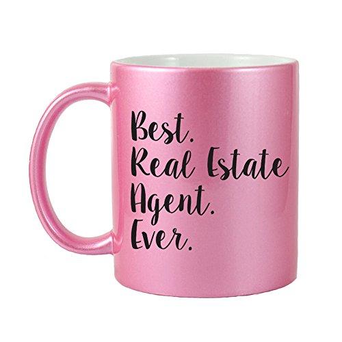 Mama Birdie Best Real Estate Agent Ever Coffee CupTea Mug - Script Print Glitter Pink