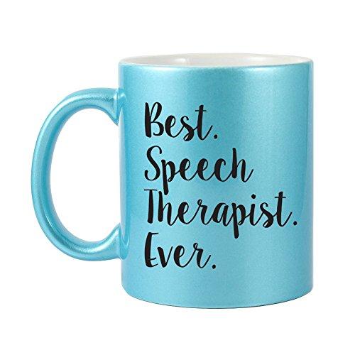Mama Birdie Best Speech Therapist Ever Coffee CupTea Mug - Script Print Glitter Blue