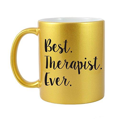 Mama Birdie Best Therapist Ever Coffee CupTea Mug - Script Print Glitter Gold