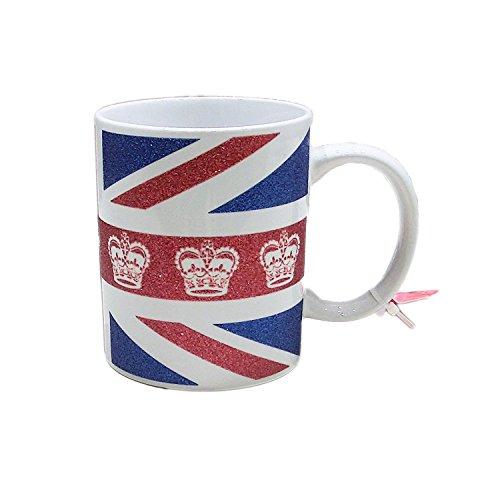 Union Jack With Crown Glitter Mug 11oz