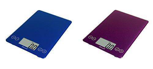 Escali Arti Glass Kitchen Scale 15 Lb  7 Kg - Electric Blue and Deep Purple Set of 2