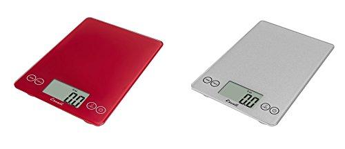 Escali Arti Glass Kitchen Scale 15 Lb  7 Kg - Retro Red and Shiny Silver Set of 2
